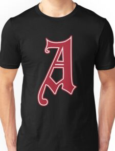 English Gothic Monogram letter A - red color Unisex T-Shirt
