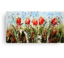 Tulips in Red Canvas Print