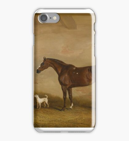 John Ferneley Snr. PORTRAIT OF A CHESTNUT HUNTER IN A STABLE, WITH A GROOM AND TERRIER.  iPhone Case/Skin