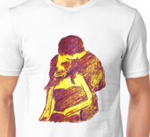 universal kiss in purple with yellow background Unisex T-Shirt