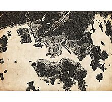 Hong Kong map ink lines Photographic Print