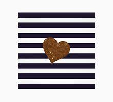 Modern Glamorous Gold Faux Glitter Heart Stripes Classic T-Shirt
