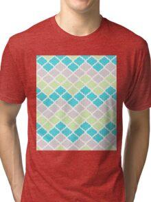 Quatrefoil Chevron Grey Mint Turquoise Blue Tri-blend T-Shirt