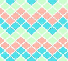 Chevron Quatrefoil Mint Peach Blue Pattern by dreamingmind