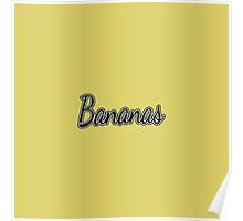 "Black and White ""Bananas"" on Yellow Poster"