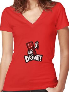 Flash will drive! Women's Fitted V-Neck T-Shirt