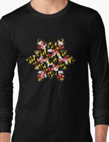 Maryland flag snowflake Long Sleeve T-Shirt