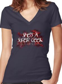 She's A Super Geek Logo Women's Fitted V-Neck T-Shirt