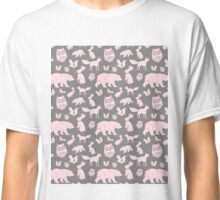 Grey Light Pink Forest Animals Fox Bear Owl Bunny Classic T-Shirt