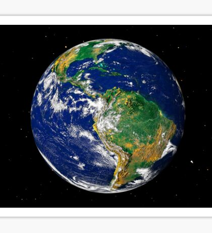 Full Earth showing South America (with stars). Sticker
