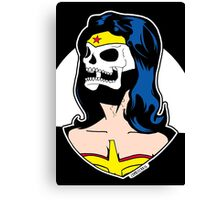 Wonder Woman Skull Pop Art Bust Canvas Print