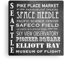 Seattle Famous Landmarks Metal Print