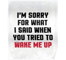 Sorry Said Wake Me Up Funny Quote Poster