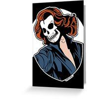 Black Widow Skull Pop Art Bust Greeting Card