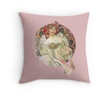 Vintage bookish mucha art Throw Pillow
