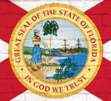 Florida flag grunge brick wall Sticker