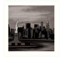 New York skyline - black and white minimal Art Print