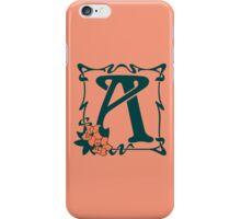 Fancy art nouveau letter A, flower iPhone Case/Skin