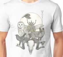 Moonlight Creeping (Skull, owl, moon, fox, blackbird and skull art) Unisex T-Shirt
