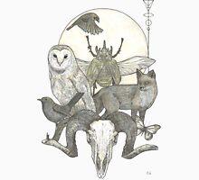 Moonlight Creeping (Skull, owl, moon, fox, blackbird and skull art) Unisex T-Shirt