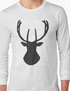 Lapland Madness  Ink Deer B/W Long Sleeve T-Shirt