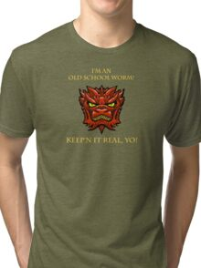 Smaug Quotes-Colbert Report- old school worm Tri-blend T-Shirt