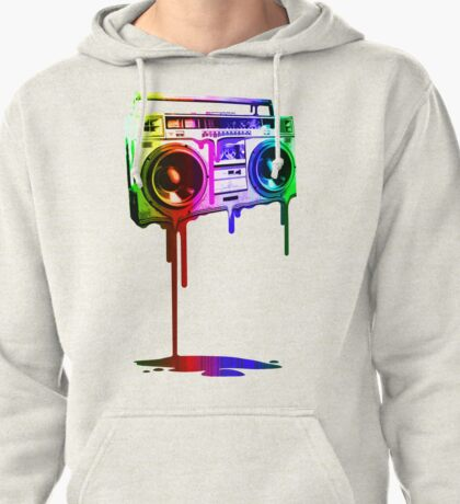 Melting Boombox (digital rainbow color) Pullover Hoodie