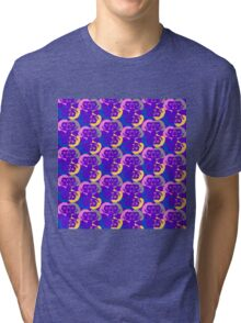 Audrey Violet Blue Pink Yellow Pattern Tri-blend T-Shirt