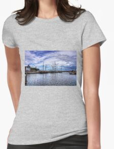 Tall Ships in Whitehaven Harbour Womens Fitted T-Shirt
