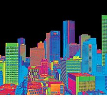 Houston Skyline in Color by Judy Vincent