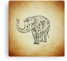 Vintage Smiling Floral Pattern Elephant Canvas Print