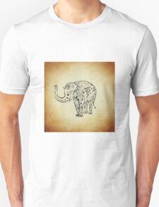 Vintage Smiling Floral Pattern Elephant Unisex T-Shirt