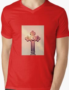 Gravestone Cross Lens Flare Mens V-Neck T-Shirt