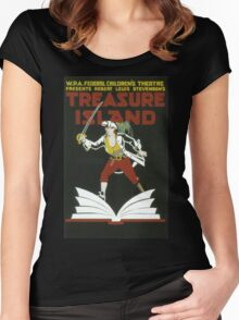Vintage poster - Treasure Island Women's Fitted Scoop T-Shirt