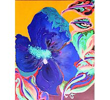 Birthday Acrylic Blue Orange Hibiscus Flower Painting with Red and Green Leaves Photographic Print