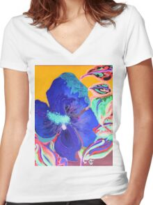Birthday Acrylic Blue Orange Hibiscus Flower Painting with Red and Green Leaves Women's Fitted V-Neck T-Shirt