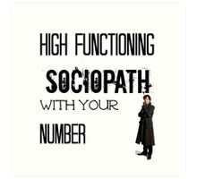 Sherlock - High Functioning Sociopath with your Number Art Print