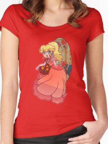 Peach Holding a Basket Women's Fitted Scoop T-Shirt