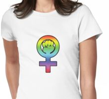 Women's Power / Feminist Symbol 3 Rainbow Womens Fitted T-Shirt