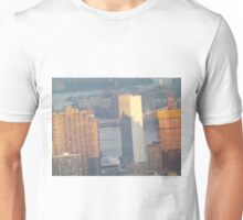 Aerial View, United Nations and Reflection, Sunset,  One World Observatory, World Trade Center Observation Deck, Lower Manhattan, New York City Unisex T-Shirt