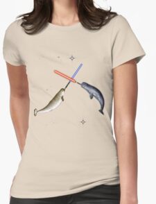 Jedi Narwhal  Womens Fitted T-Shirt