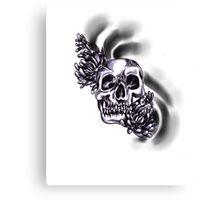 Dark skull with chrysanthemums  Canvas Print