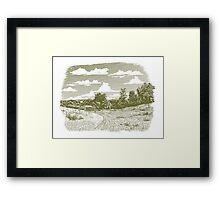 Woodcut Goodnight Farm Framed Print