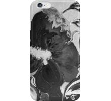 Black and White of Birthday Acrylic Blue Orange Hibiscus Flower Painting with Red and Green Leaves iPhone Case/Skin