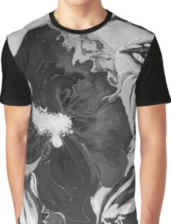 Black and White of Birthday Acrylic Blue Orange Hibiscus Flower Painting with Red and Green Leaves Graphic T-Shirt