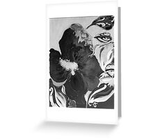 Black and White of Birthday Acrylic Blue Orange Hibiscus Flower Painting with Red and Green Leaves Greeting Card