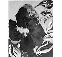 Black and White of Birthday Acrylic Blue Orange Hibiscus Flower Painting with Red and Green Leaves Photographic Print