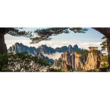 Huangshan Framed by Pine Trees  Photographic Print