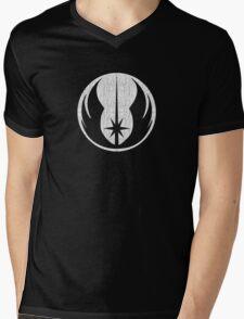 Jedi (white, distressed) Mens V-Neck T-Shirt
