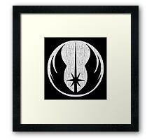 Jedi (white, distressed) Framed Print